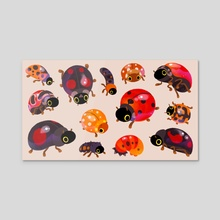 Lady beetles - Canvas by pikaole