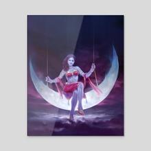 Moon Goddess - Acrylic by Shyam Deshpande