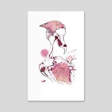Rose Hip Tea Heron / Bird - Acrylic by Hoploid  Angela Mercedes Donna Otto
