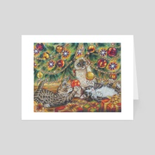 Cats and the Christmas tree - Art Card by Alessandra Rosi