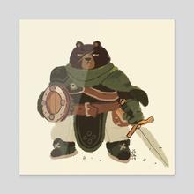 Animal Adventurers - Bear Warrior - Acrylic by Jenn So