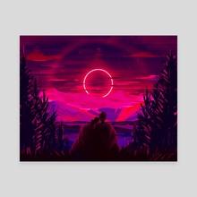 Fuchsia Eclipse - Canvas by Charlie Beasley