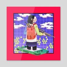 School Girl Gamer - Acrylic by agustdee