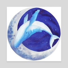 Moon Whale - Canvas by Chantelle Que
