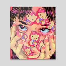 Hello Kitty Sticker Face - Acrylic by Lisa Avila
