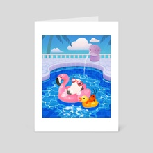 Cory cats in the swimming pool 2 - Art Card by pikaole
