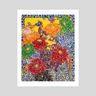 Chrysanthemum Porcelain - Art Print by Yin Lu