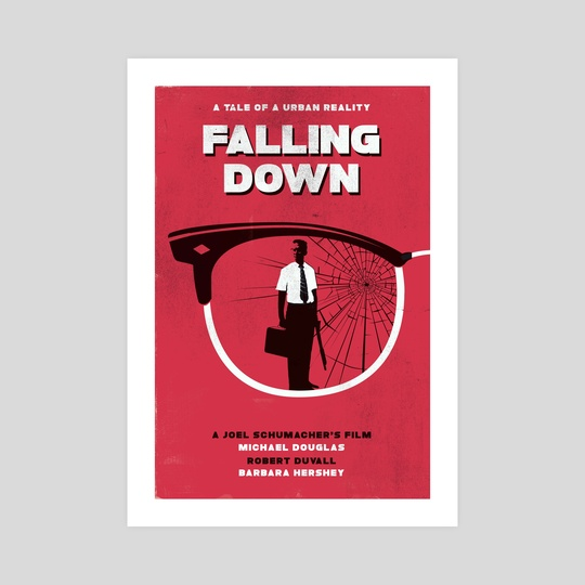Alternative Falling down movie print by Fer Ojea