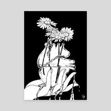 Bleeding Heart (Black and White) - Canvas by Mel McKenzie