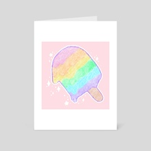 Pastel Rainbow Melty Popsicle - Art Card by Bridget Garofalo