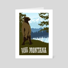 Glacier National Park Grizzly Travel Poster - Art Card by John Morris