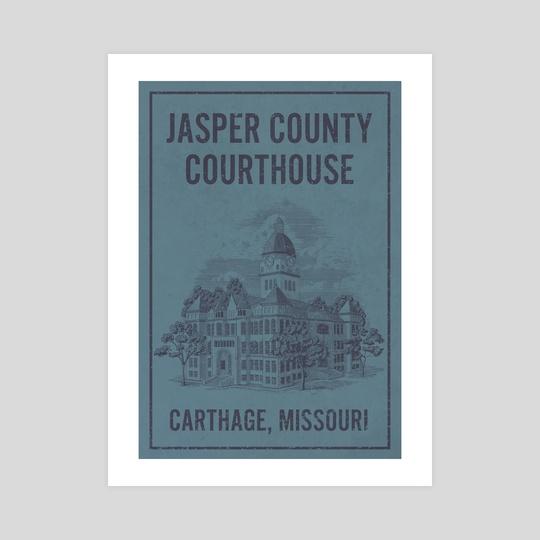 Jasper County Courthouse Carthage Missouri Travel Poster by John Morris