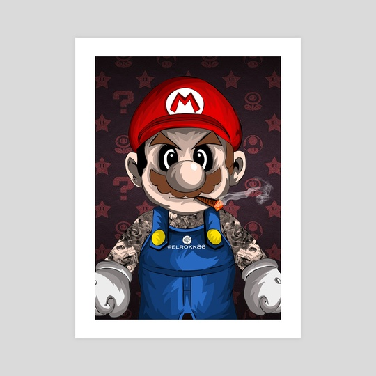 Tattooed Mario by Ephrem Rokk