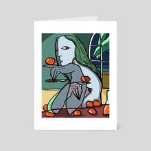 Making peach juice at night - Art Card by Anna Tsvell