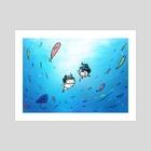skuba diving - Art Print by xp SmallUmbrella