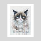Not a Happy Kitty - Art Print by Olga Shvartsur