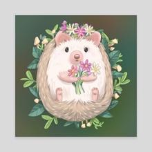 Hedgehog with Flowers - Canvas by Pamela Yeung Ribeiro