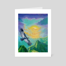 Andean condor in Machu Picchu - Art Card by Luis Daniel Arévalo