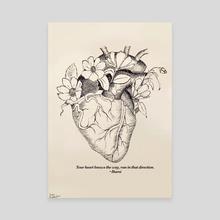 Heart Blossom  - Canvas by Reem Abdelbadie