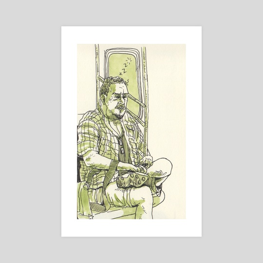 Man Sleeping in Subway by Dan Archer