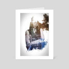 Double exposure City smudge - Art Card by L'antre De mondes