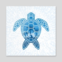 Tropical Island Sea Turtle Design in Blue - Acrylic by John Schwegel