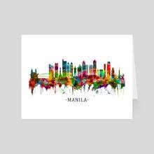 Manila Philippines Skyline - Art Card by Towseef Dar