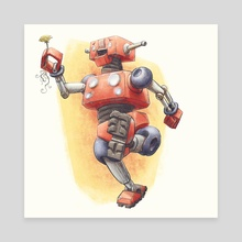 Robot Flower - Canvas by Charles Astrella