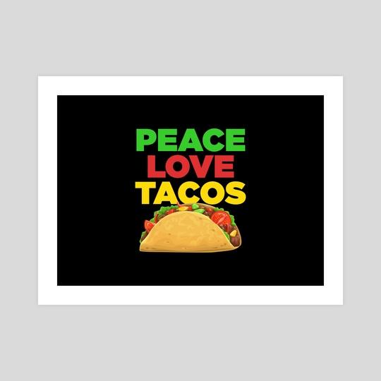 Retro Peace Love Tacos by Visuals Artwork