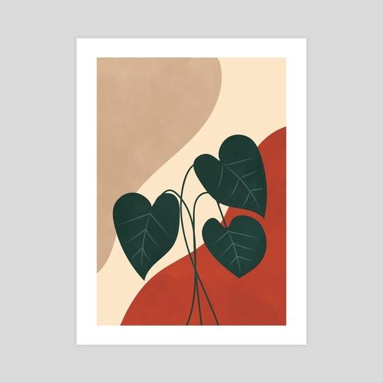 Botanical Anthurium Plant, Mid century, Modern Art, Gallery Wall, Neutral Beige Print by Ariani Anwar