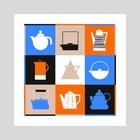 Tea Time (Blue) - Art Print by Christy Lundy
