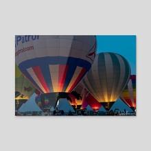 Hot Air Balloon Night Glow - Acrylic by Andrew Alvizures