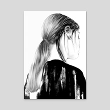Sketch of Girl with Braid, Aesthetic Cute Girl Portrait - Acrylic by Tantowi Gilang