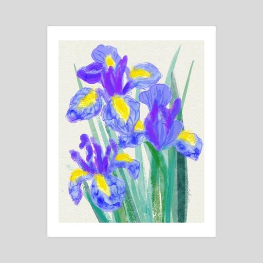 Dutch garden irises sketch by Irina Koksharova