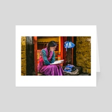 Young Woman Is Sitting And Reading In Front Of Her Shop In Lhasa, Tibet, #4, 6-2016 - Art Card by Vlad Meytin