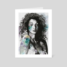 Start With a Strong and Persistent Desire | sexy black woman portrait - Art Card by Marco Paludet