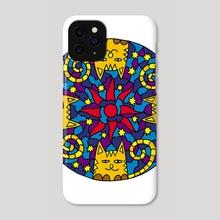 Mandala of 4 cats. Sun and sky - Phone Case by Dmytro Rybin