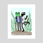 Frog and Newt Are Friends - Art Print by Julie Fiveash