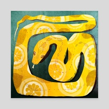 Citrus Snake - Huevember in Yellow - Canvas by Crystal Smith