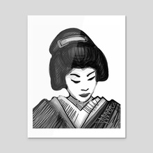 Geisha illustration - Acrylic by Bernardo Ramonfaur
