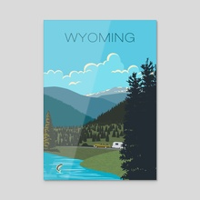 Wyoming Travel Poster - Acrylic by John Morris