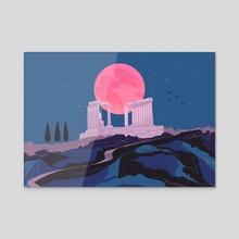 Temple of Poseidon at Sounion - Acrylic by Flora Kirk
