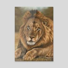 Lion Portrait - Acrylic by Richard Macwee