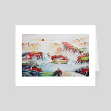 Chinese landscape red sun 1 - Art Card by Robert Décurey