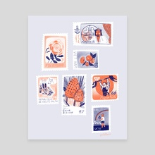 Stamp Collection - Canvas by Erin Wallace