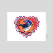 Valentine Bird 2 - Art Card by Kristin Harris