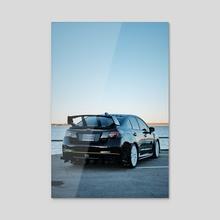 Lakeside Subarus #3 - Acrylic by Preston Collins