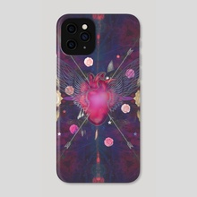 Heart, roses, arrows - Phone Case by Mihalis Athanasopoulos