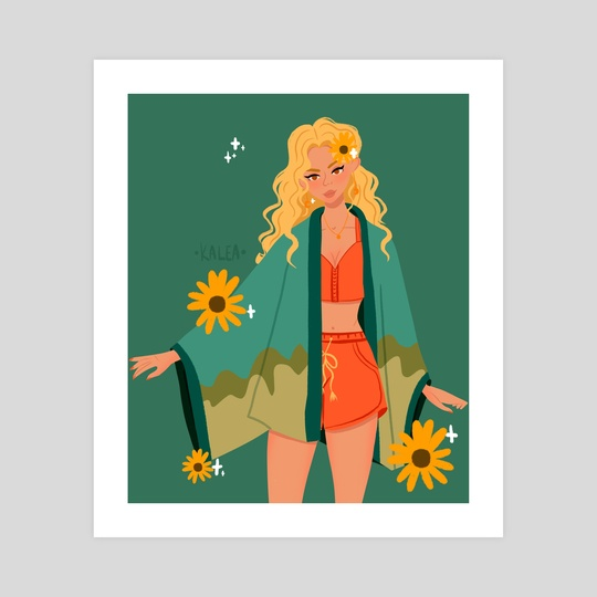 Girl and the flowers  by Kalea Clark