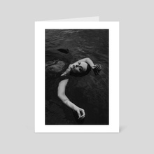 blackandwhite photo of a naked girl in the water with a black cloth 2  - Art Card by Kseniya Lokotko